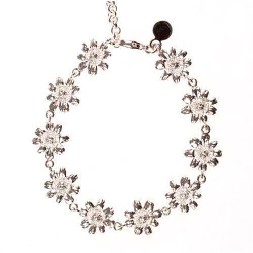 Flora Danica sølv marguerit armbånd