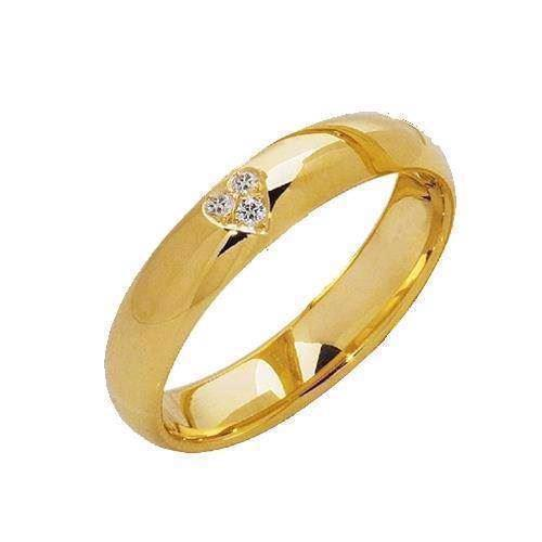 Elegant 14 karat fingerring med 0,03 ct diamanter i hjerte