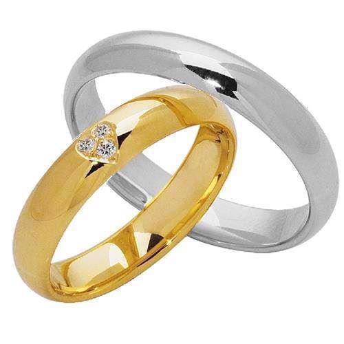 Guld og Sølv Vielsesringe med 0,03 ct diamanter i hjerte