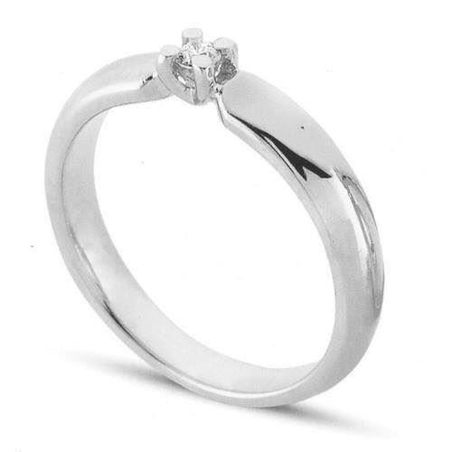Copenhagen 14 karat Hvidguld solitaire ring med 0,43 carat brillant