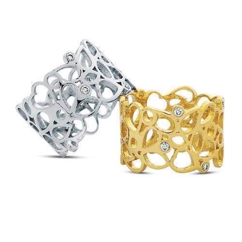 14 karat guld ringe med 6 x 0,02 ct diamanter og hjerter