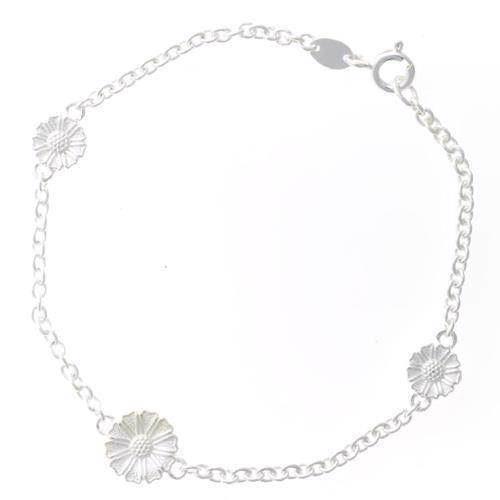 Lund Marguerit sølv armbånd med 3 blomster