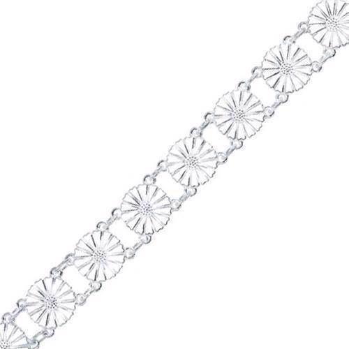 Lund Marguerit armbånd i sølv med hvid emaljeret 11,0 mm blomster