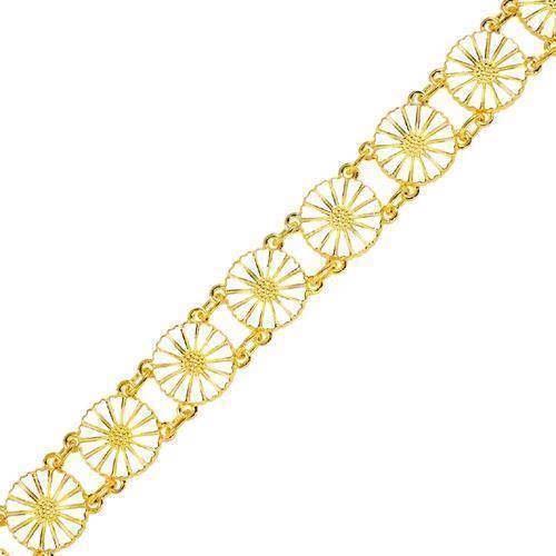 Lund Marguerit armbånd i forgyldt sølv med hvid emaljeret 11,0 mm blomster