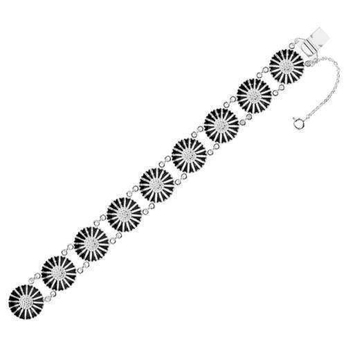 Lund Marguerit armbånd i sølv med sort emaljeret 18,0 mm blomster