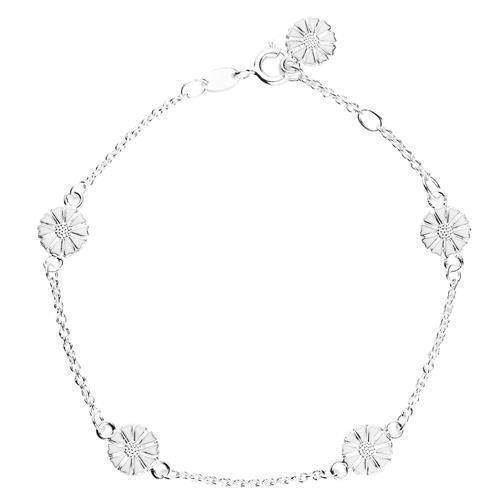 Lund Marguerit armbånd i sølv med hvid emaljeret 7,5 mm blomster