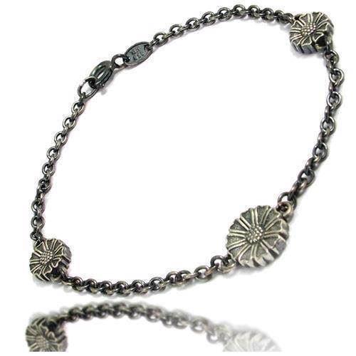 Lund oxyderet Marguerit sølv armbånd med 3 blomster