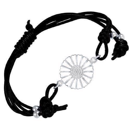 Hvid Marguerit med sort læderarmbånd fra Lund Copenhagen
