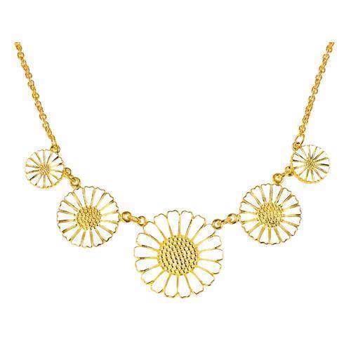 925 sølv Marguerit halskæder med forskellige størrelse blomster fra Lund Copenhagen