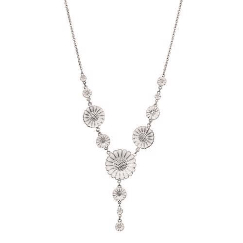 Hvid med sølv Marguerit halskæde med i Y facon fra Lund Copenhagen