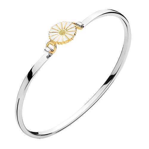 903011-M, Lund Marguerit armring i sterling sølv med forgyldt sølv med hvid emalje