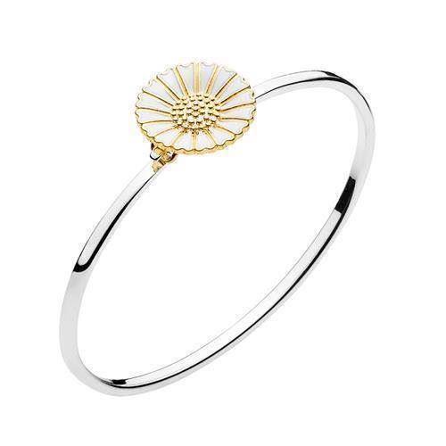 Lund Marguerit 925 sterling sølv Armring blank med hvid emalje, model 903018-M