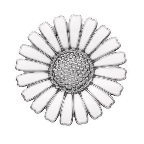 Hvid Marguerit Broche med sort rhodinering fra Lund Copenhagen - 36 mm