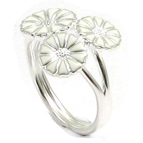 Lund 3 blomst Marguerit fingerring i sølv m/ hvid emalje