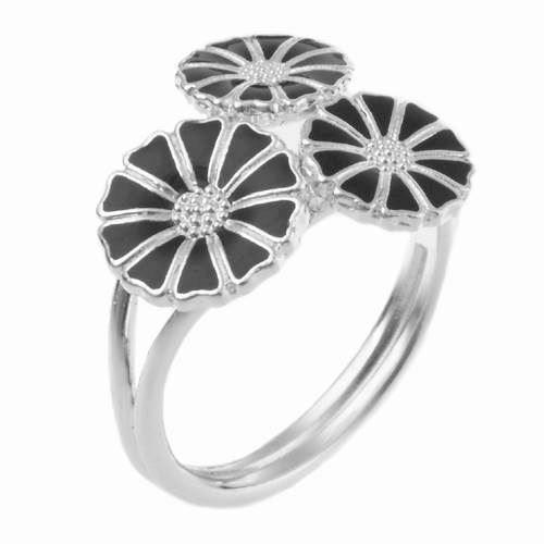 Lund 3 blomst Marguerit fingerring i sølv m/ sort emalje