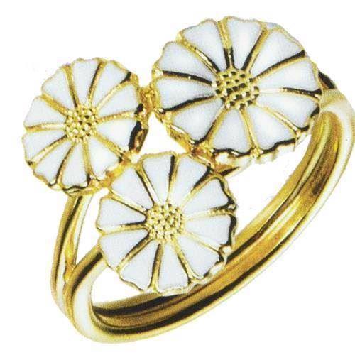 Lund 3 blomst Marguerit fingerring i forgyldt sølv m/ hvid emalje