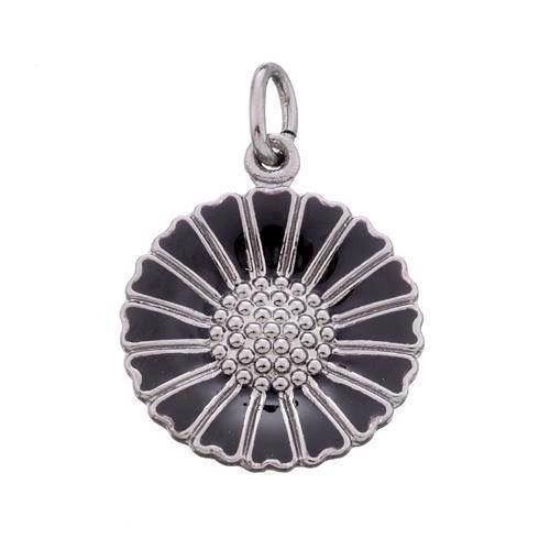 18 mm 925 sølv Marguerit vedhæng Sort m/ sort rhodineret sølv fra Lund of Copenhagen