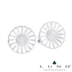 18 mm Marguerit øreclips i hvid med sølv fra Lund of Copenhagen
