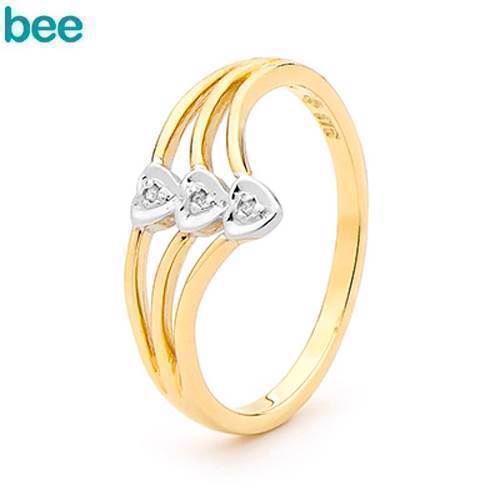 Guld hjerte ring med 3 stk 0,005 ct diamant