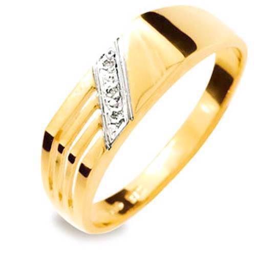 Herrering i 9 kt guld med 3 stk 0,005 ct diamant