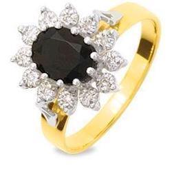 Guld fingerring m/ safir & 12 diamanter