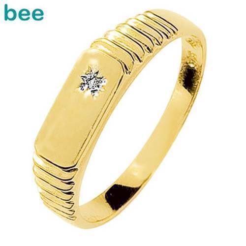 Herrering i 9 kt guld med 0,005 ct diamant