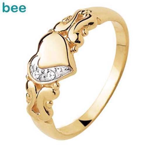 Guld hjerte fingerring m/ 2 stk 0,005 ct diamanter