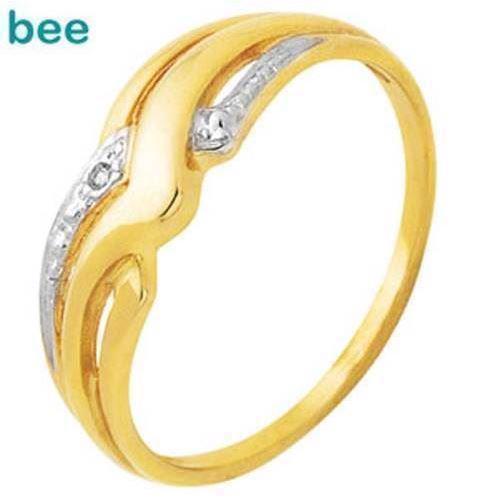 Guld fingerring m/ 1 stk 0,005 ct diamant