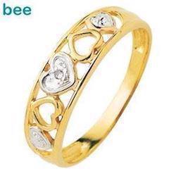Guld hjerte ring med 1 stk 0,005 ct diamant