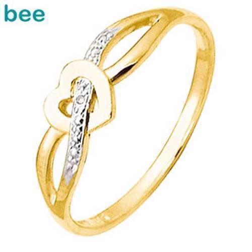 Fin lille guld hjerte ring med diamant