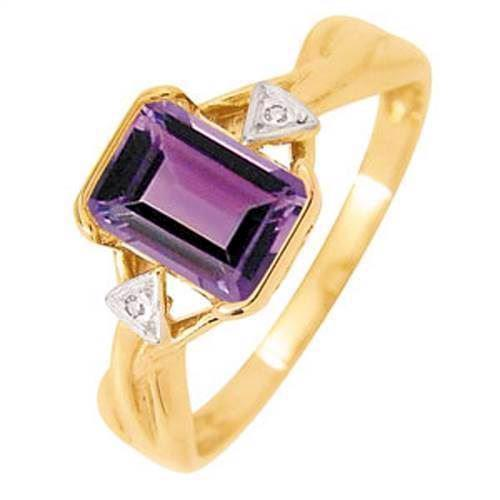 Guld fingerring med Amethyst og diamant
