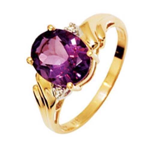 Stor amethyst og diamant guld fingerring