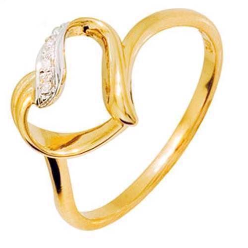 Smuk hjerte guldring med 3 diamanter