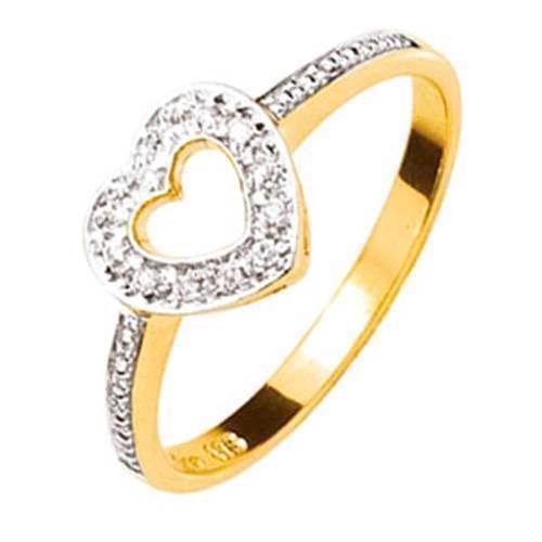 Romantisk lille guld hjertering med diamanter