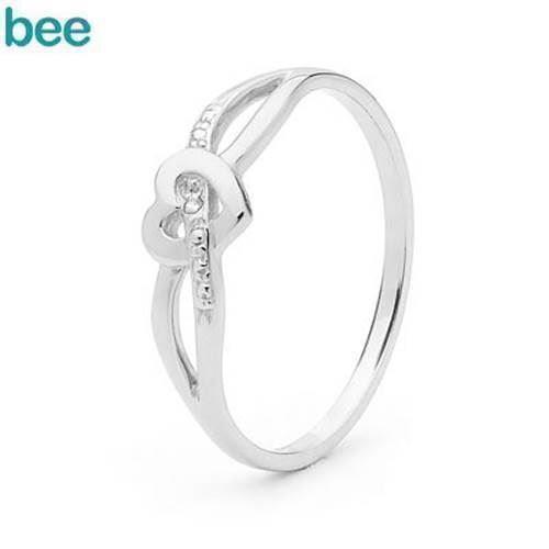 Fin lille hvidgulds diamant hjerte ring