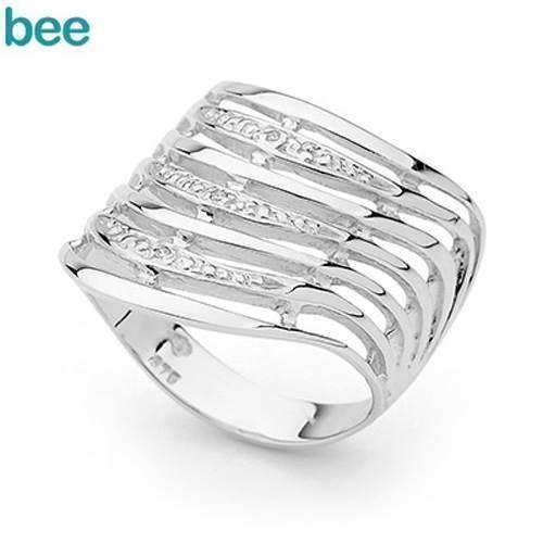 De syv ønskers hvidgulds ring med diamanter