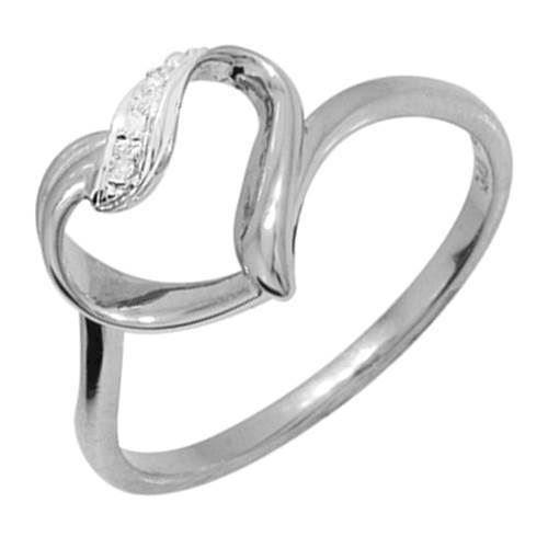 9 kt sjov hvidgulds hjerte ring med diamanter