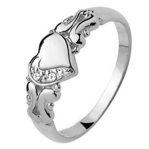 9 kt hvidgulds hjertering med diamant