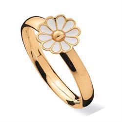 Spinning Blossom Hvid, 8 kt fingerring med Marguerit