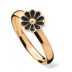 Spinning Blossom sort, 8 kt fingerring med Marguerit